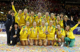 Alanna Antcliff with the Australian Netball Diamonds 2015 World Champions