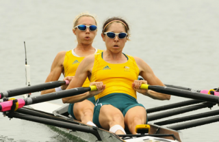 Australia's Amber Halliday (R) and Marguerite Houston row during the women's lightweight double sculls